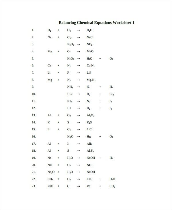 Nastiik  Balancing Chemical Equations Worksheet