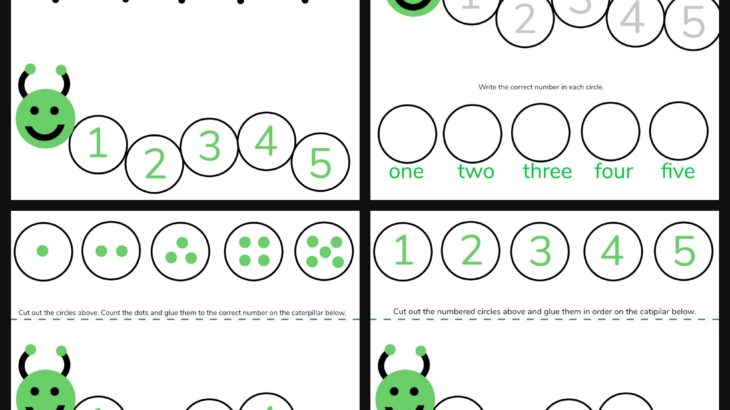 Caterpillar Math Free Printable Preschool Worksheets (numbers 1 – 5)