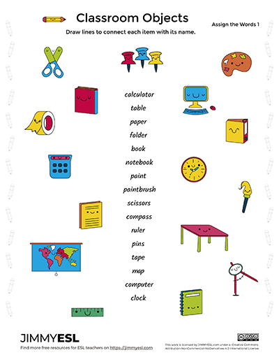 School & Classroom Objects (esl Worksheets & Flashcards)