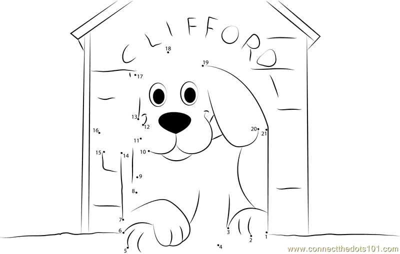 Clifford Dog In Home Dot To Dot Printable Worksheet