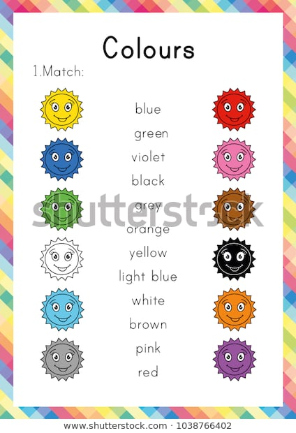 Colours Worksheet Learning English Young Learners Stock Image