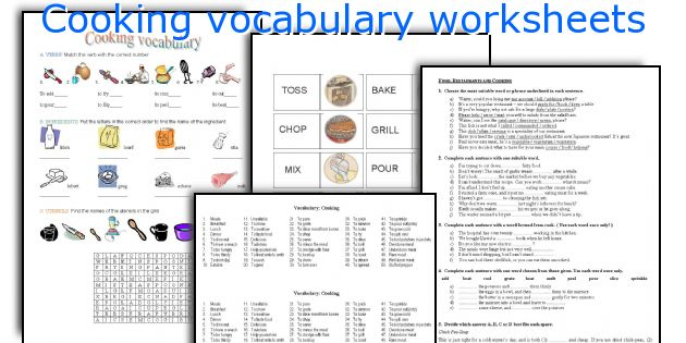 Cooking Vocabulary Worksheets