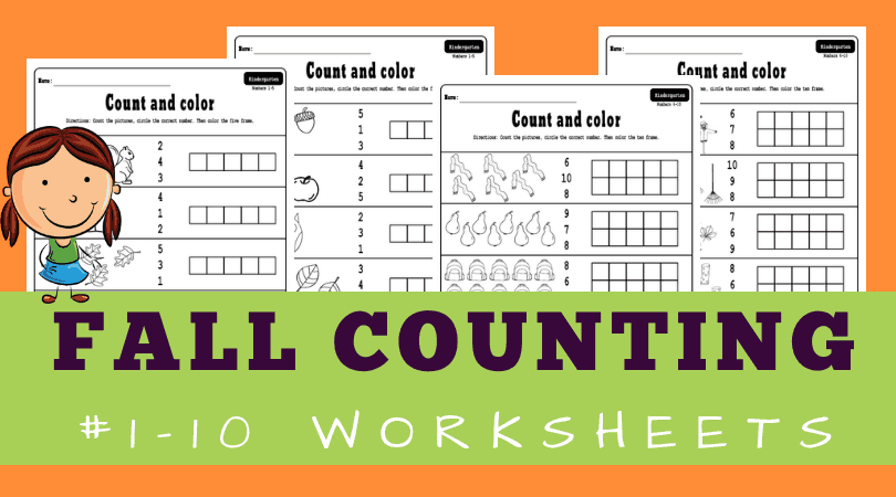 Free Printable Fall Counting Worksheets 1