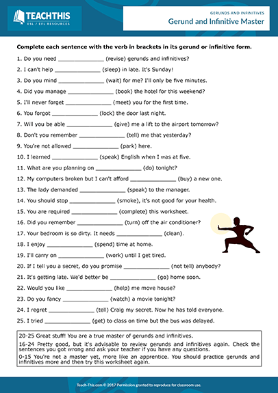 Gerunds Infinitives Esl Activities Worksheets Games