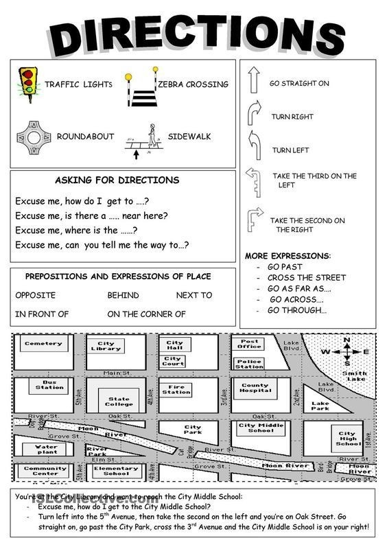Giving Directions Printable Worksheets