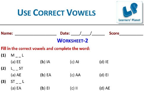 Vowels Worksheets English Grammar Exercises For Cbse Class 2 Students