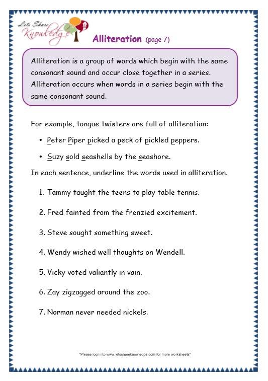Grade 3 Grammar Topic 33  Alliteration Worksheets