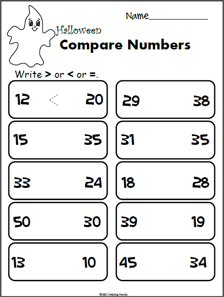 Halloween Math Compare Numbers