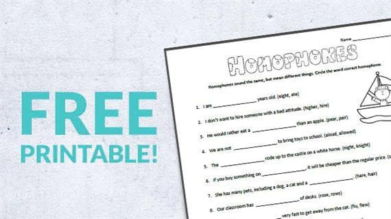 Free Printable  Homophones Worksheet