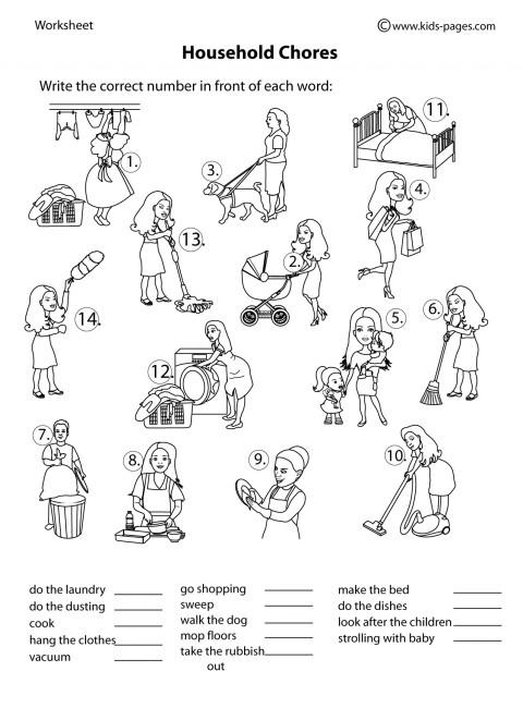 Household Chores B&w Worksheet