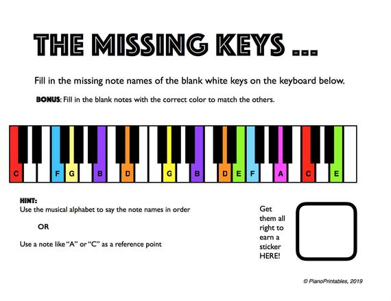 The Missing Keys Printable Piano Worksheet For Teachers And