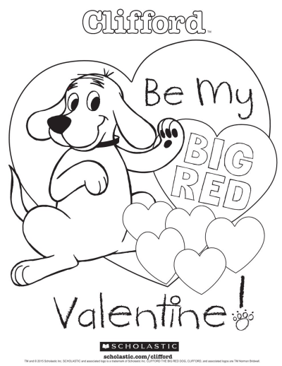 Clifford's My Big Red Valentine Coloring Sheet