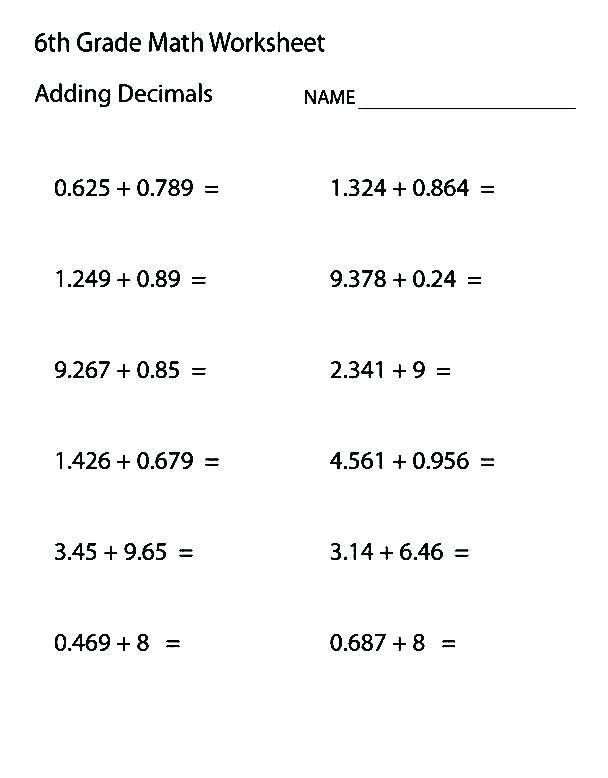 Math For 6th Graders Printable Worksheets – Charleskalajian Com