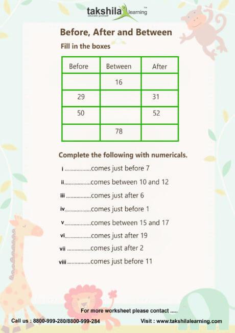Worksheet For Class 1 Maths