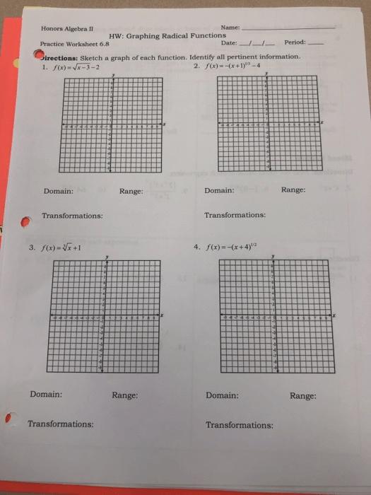 Solved  Honors Algebra Ii Name  Hw  Graphing Radical Funct