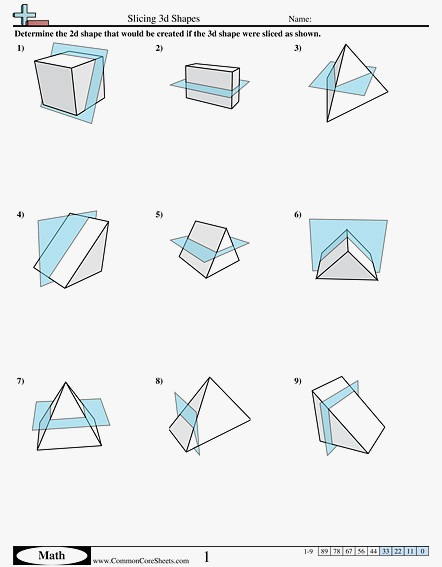 62 Elegant Of Natural Cross Sections Of 3d Shapes Worksheets Stock