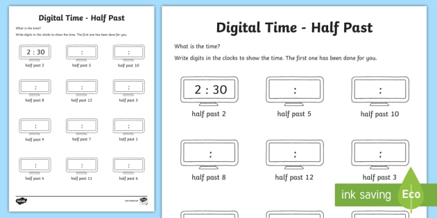 Digital Time – Half Past Worksheet   Worksheet
