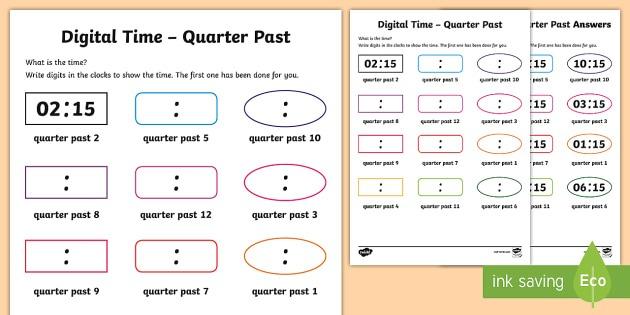 Digital Time – Quarter Past Worksheet   Worksheet