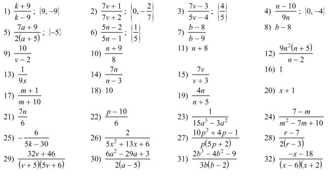 Answers To Operations On Rational Functions Worksheet