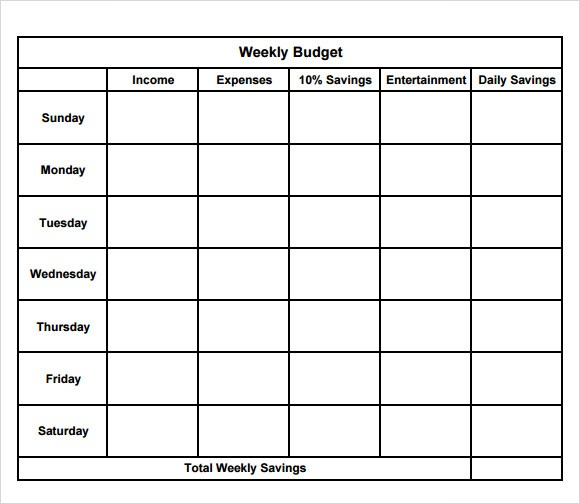Free 10+ Weekly Budget In Google Docs, Google Sheets, Ms Excel, Ms