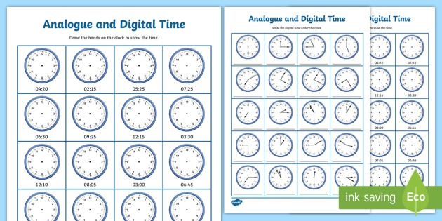 Analogue And Digital Time Worksheets