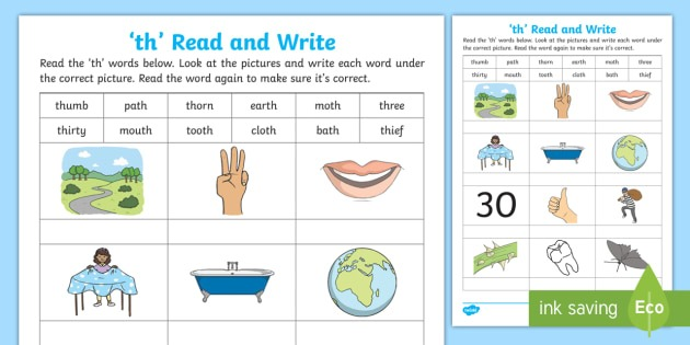 Th' Read And Write Worksheet