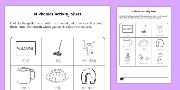 M Phonics Worksheet   Worksheet