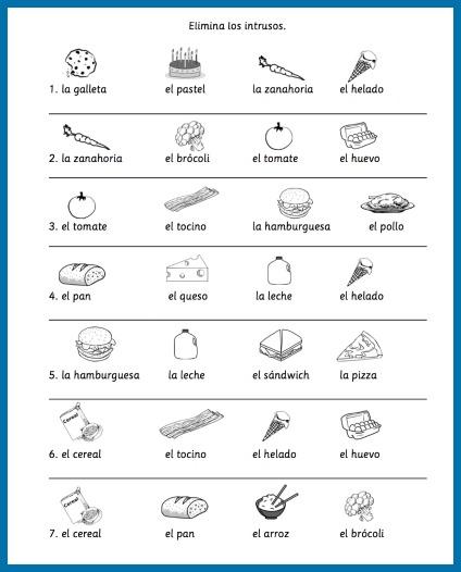 Spanish Food Vocabulary Printable Activities