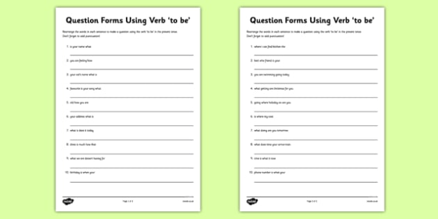 Question Forms Using Verb To Be Worksheet