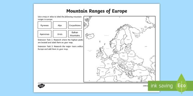 Europe Mountain Ranges Worksheet