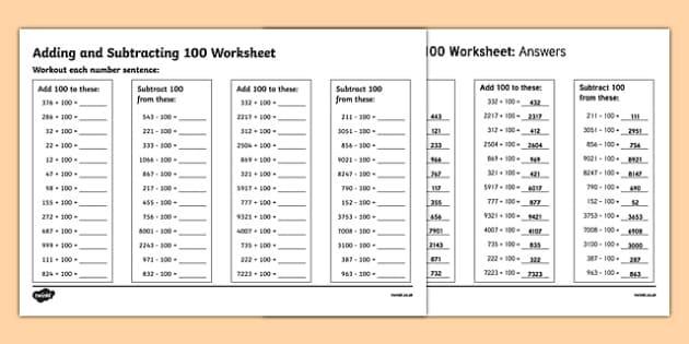 Adding And Subtracting 100 Worksheet