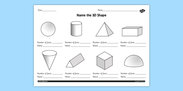 Name The 3d Shape Grade 3 Worksheet