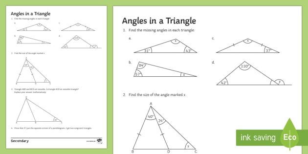 Angles In A Triangle Worksheet   Worksheet