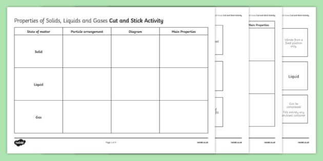 Properties Of Solids, Liquids And Gases Cut And Stick Worksheet
