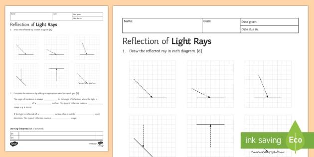 Ks3 Reflection Homework Worksheet   Worksheet