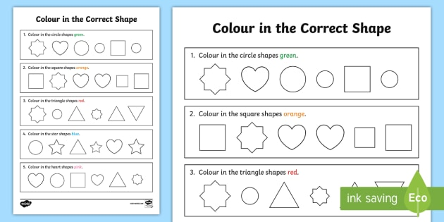 Colour In The Correct Shape Recognition Worksheet   Worksheet