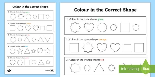 Colour In The Correct Shape Recognition Worksheet   Worksheet