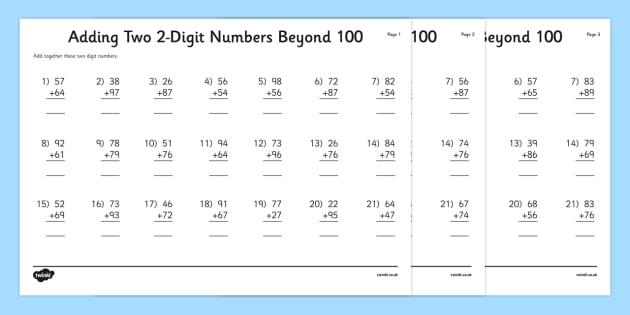 Adding Two 2 Digit Numbers Beyond 100 Worksheet   Worksheet