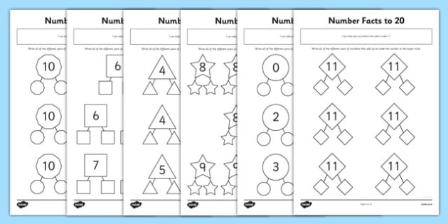 Number Facts To 20 Part Whole Worksheet   Worksheet Pack