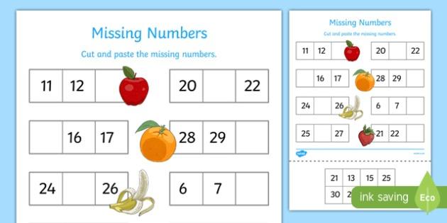 Missing Numbers To 30 Worksheet   Worksheet