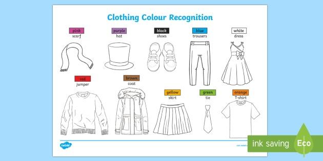 Clothing Colour Recognition Worksheet   Worksheets