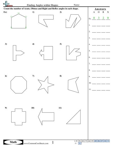 Angles Worksheets
