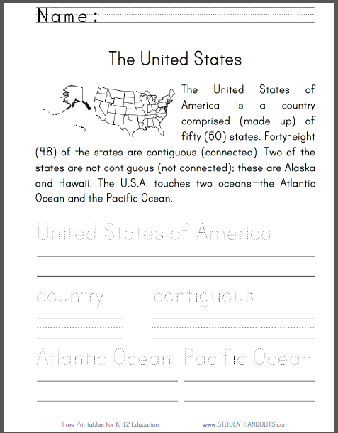 United States Geography Primary Worksheet