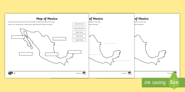 Lower Ability Map Of Mexico Differentiated Worksheets