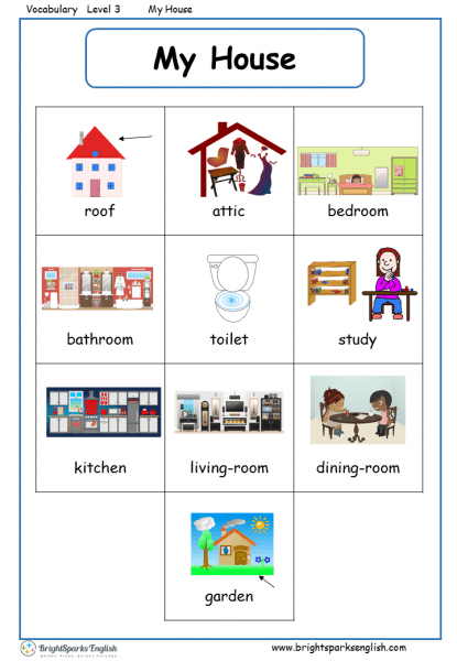 My House English Vocabulary Worksheet – English Treasure Trove
