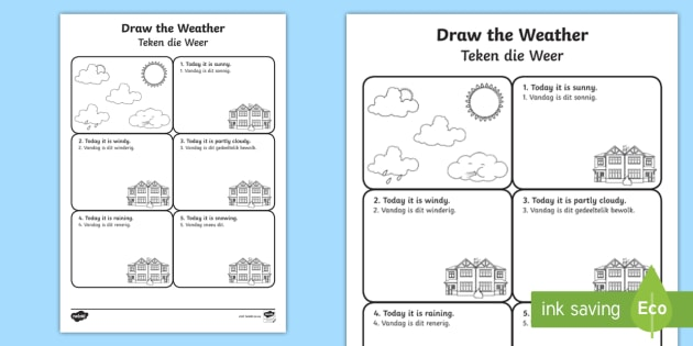 Draw The Weather Worksheet   Worksheet English Afrikaans